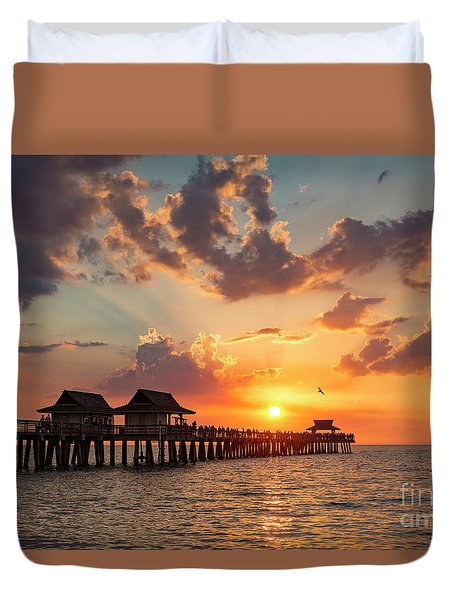 Duvet Cover featuring the photograph Naples Pier At Sunset by Brian Jannsen