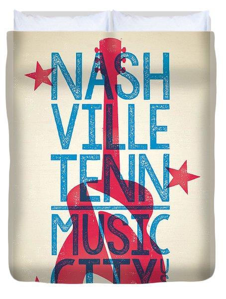 Nashville Tennessee Poster Duvet Cover