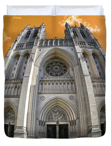 Duvet Cover featuring the photograph National Cathedral by Mitch Cat