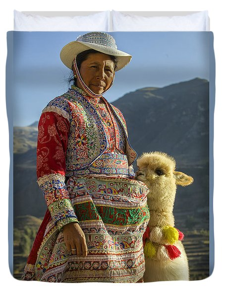 Native Peruvian Woman With Baby Alpaca Duvet Cover by Patricia Hofmeester