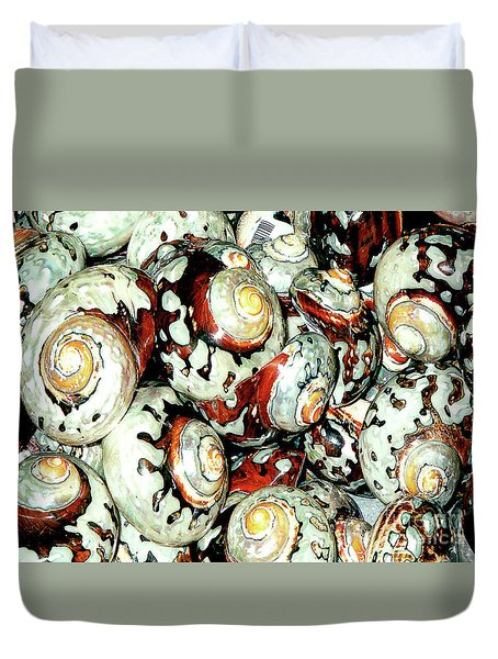 Duvet Cover featuring the photograph Naturally Colored Seashells - Florida Key's Exhibit by Merton Allen