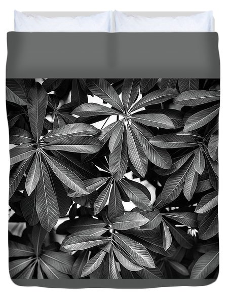 Nature Background, Green Leaves, Flowers In Natural Light And Sh Duvet Cover