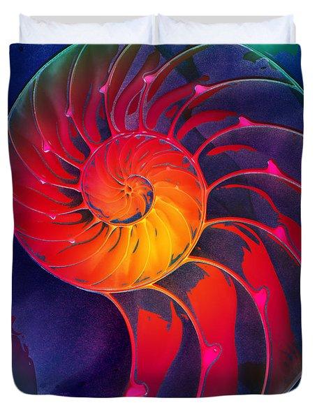 Nautilus Shell Orange Blue Green Duvet Cover
