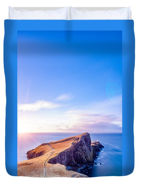 Neist Point Lighthouse At Dawn Duvet Cover