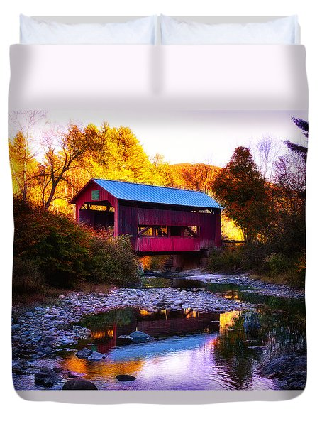 Duvet Cover featuring the photograph New England Fall Foliage Above Upper Cox Covered Bridge by Jeff Folger
