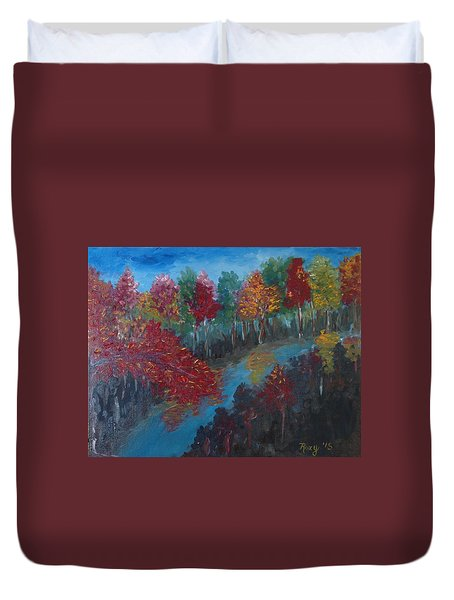 New Hampshire In Autumn Duvet Cover by Roxy Rich