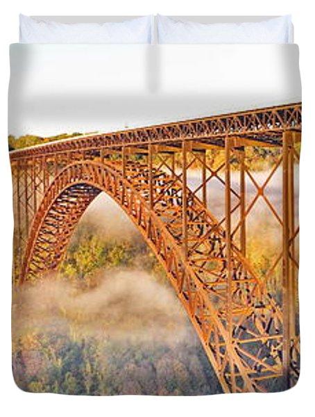 New River Gorge Bridge Morning Fall Panorama Duvet Cover