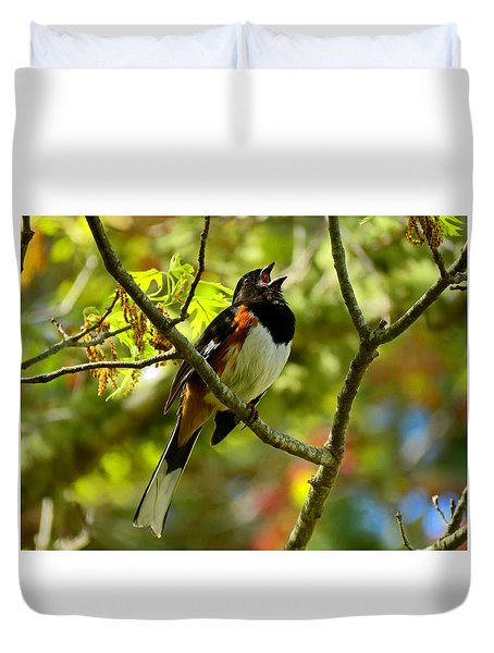 Towhee In Song Duvet Cover