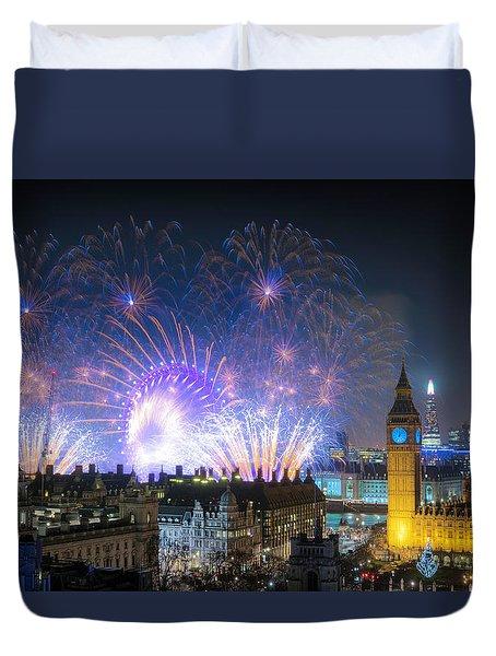 New Year Fireworks Duvet Cover