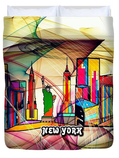 New York By Nico Bielow Duvet Cover by Nico Bielow