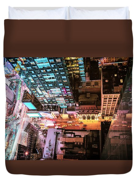 New York City - Night Duvet Cover by Vivienne Gucwa