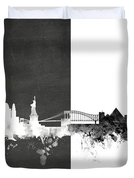 New York Memphis Skyline Mashup Duvet Cover
