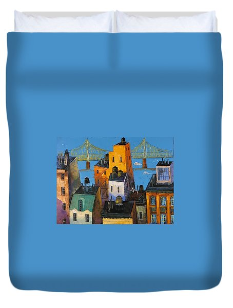 Duvet Cover featuring the painting New York by Mikhail Zarovny