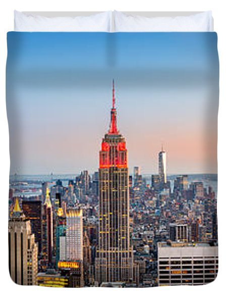 New York Skyline Panorama Duvet Cover by Mihai Andritoiu