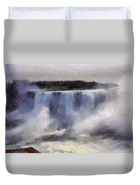 Duvet Cover featuring the digital art Niagara Falls by Charmaine Zoe