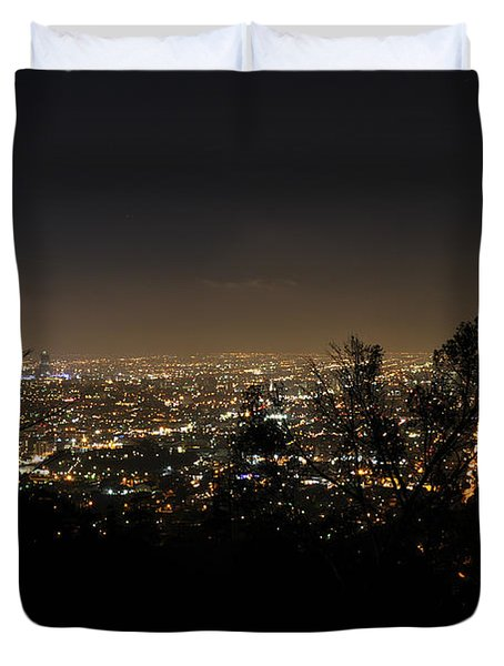 Night At Griffeth Observatory Duvet Cover by Clayton Bruster