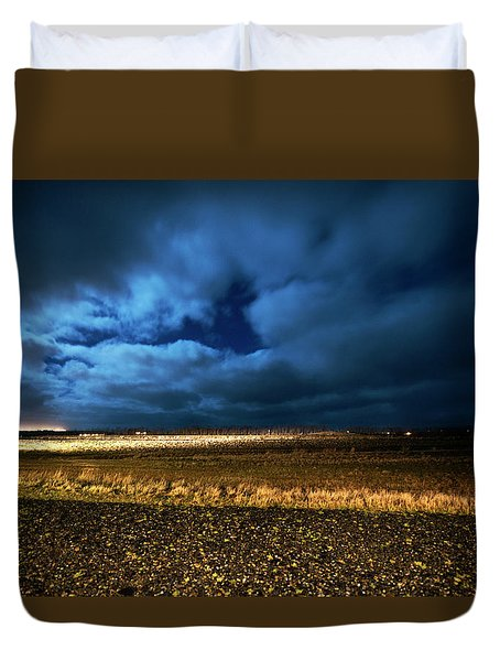 Duvet Cover featuring the photograph Icelandic Night  by Dubi Roman