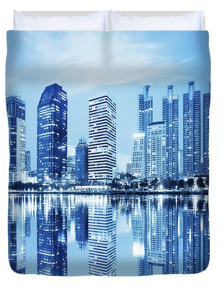 Duvet Cover featuring the photograph Night Scenes Of City by Setsiri Silapasuwanchai