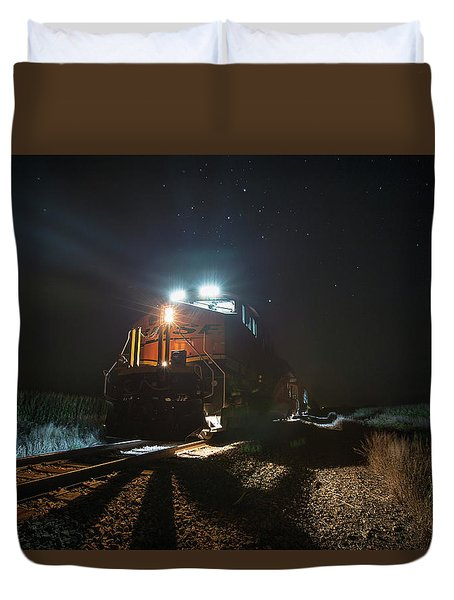 Duvet Cover featuring the photograph Night Train by Aaron J Groen