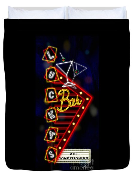 Nightclub Sign Luckys Bar Duvet Cover