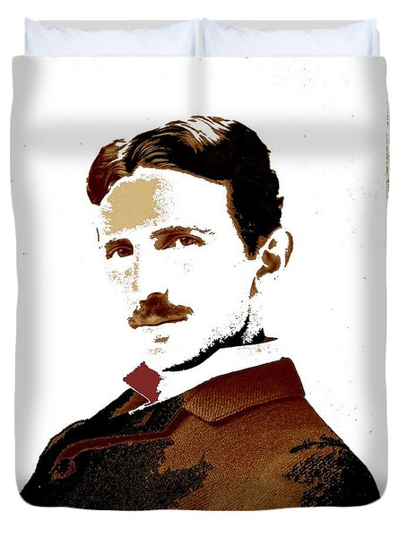 Nikola Tesla Napoleon Sarony Photo 1893-2013 Duvet Cover