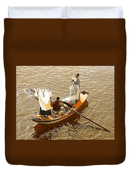 Nile River Merchants Duvet Cover by Joseph Hendrix