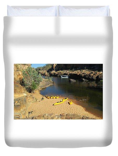 Nitmiluk Gorge Kayaks Duvet Cover by Tony Mathews