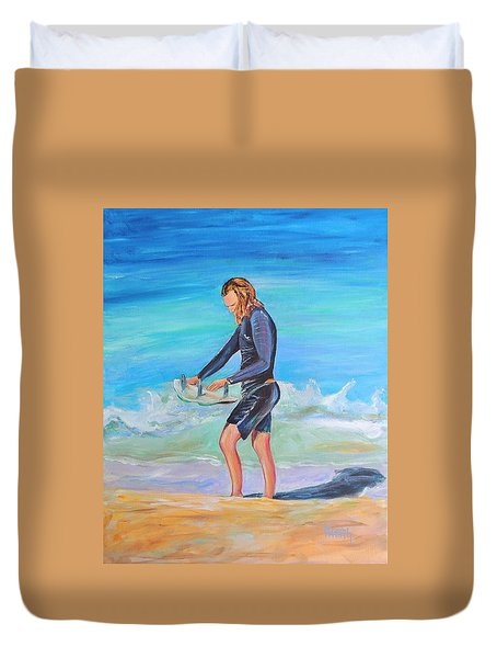 Duvet Cover featuring the painting Noah by Patricia Piffath