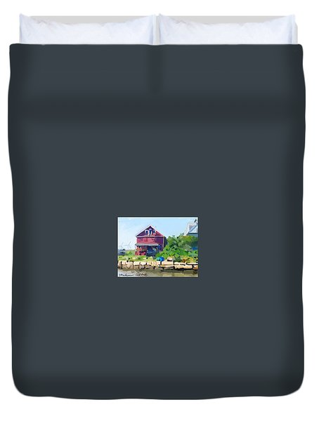 North Shore Art Association At Reed's Wharf Duvet Cover