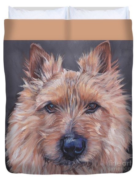 Duvet Cover featuring the painting Norwich Terrier by Lee Ann Shepard