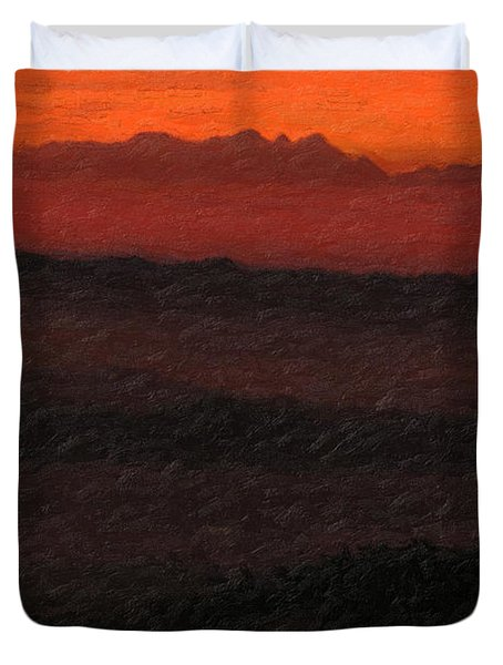 Not Quite Rothko - Blood Red Skies Duvet Cover by Serge Averbukh