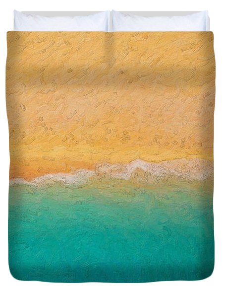 Not Quite Rothko - Surf And Sand Duvet Cover by Serge Averbukh
