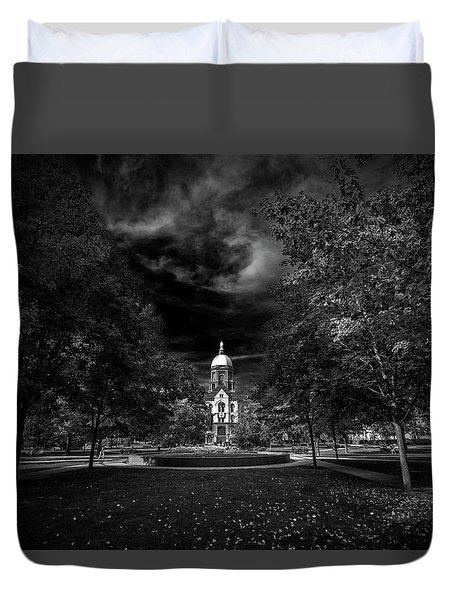 Duvet Cover featuring the photograph Notre Dame University Black White by David Haskett