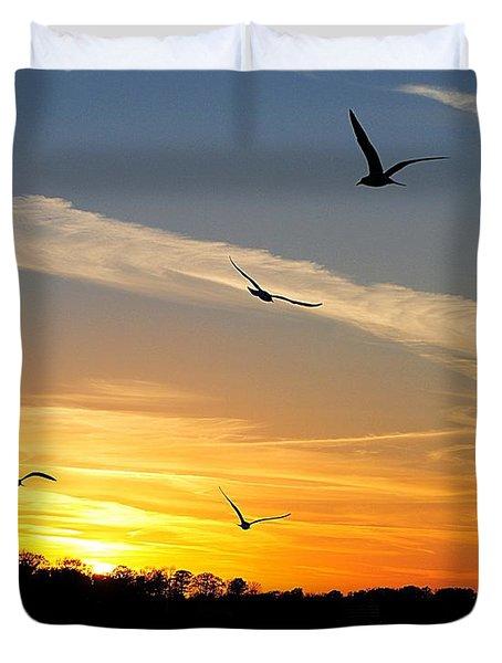 November Sunset Duvet Cover by Frozen in Time Fine Art Photography