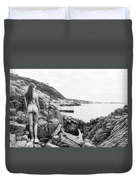 Nude Girl On Rocks Duvet Cover