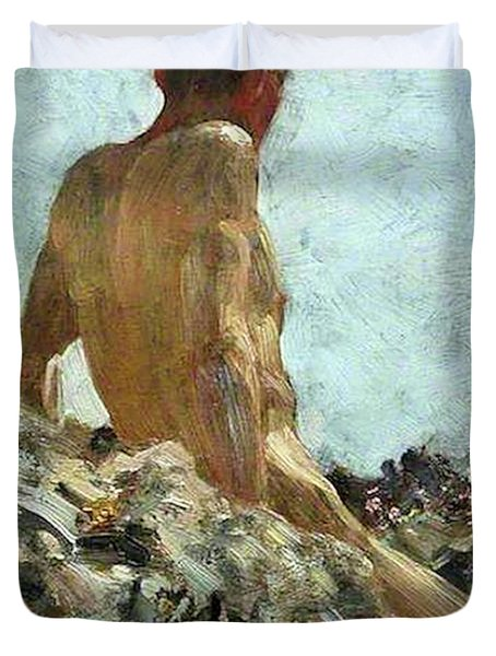 Duvet Cover featuring the painting Nude Study by Henry Scott Tuke