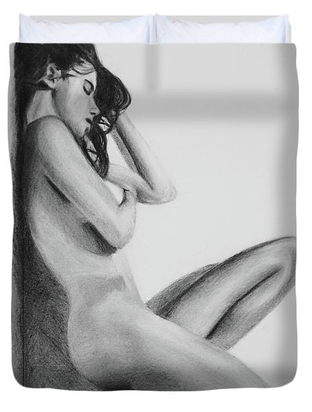 Nude Woman In High Heels Drawing Duvet Cover