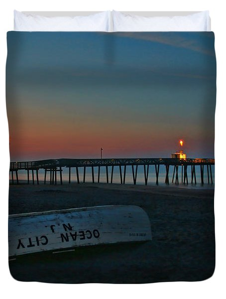 Ocean City  N J Sunrise Duvet Cover