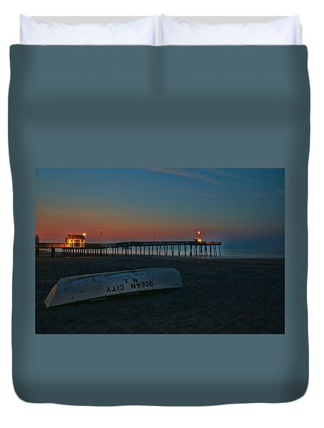Ocean City  N J Sunrise Duvet Cover by Allen Beatty