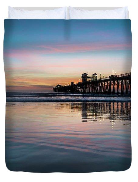 Oceanside Pier Sunset Duvet Cover
