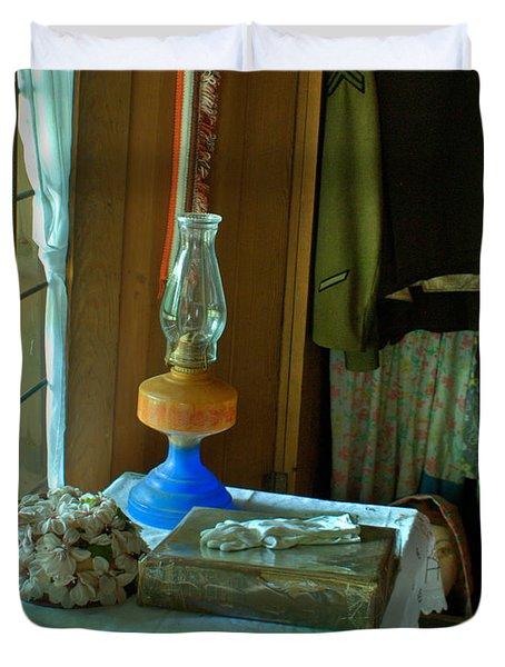 Oil Lamp And Bible Duvet Cover by Douglas Barnett