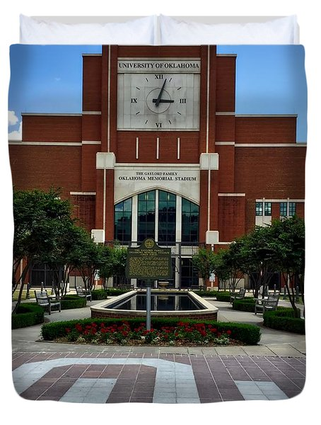 Oklahoma Memorial Stadium Duvet Cover