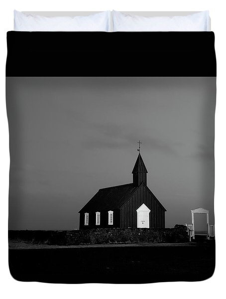 Old Countryside Church In Iceland Duvet Cover