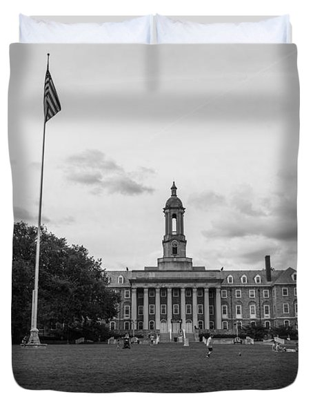 Old Main Penn State Black And White  Duvet Cover