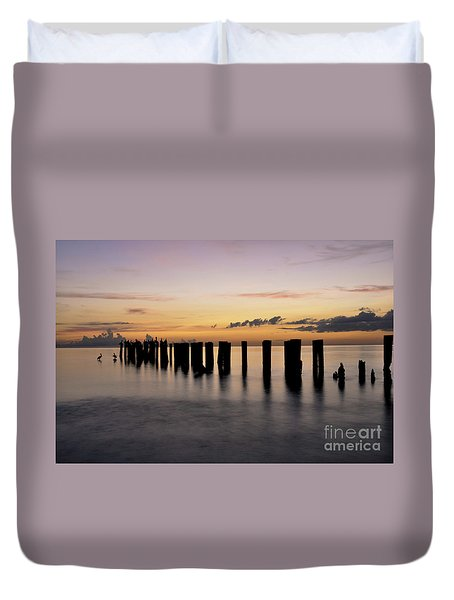 Duvet Cover featuring the photograph Old Naples Pier by Kelly Wade