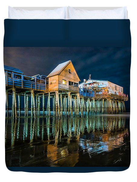 Old Orchard Dock Night Reflection Duvet Cover