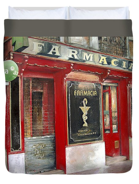 Old Pharmacy Duvet Cover by Tomas Castano