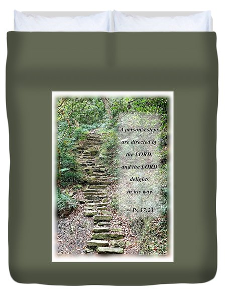 Old Stone Path In A Dense Forest With Scripture Duvet Cover