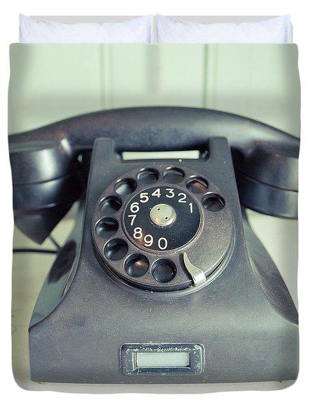 Old Telephone Square Duvet Cover