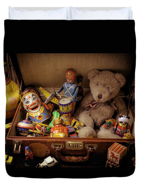 Old Toys In Suitcase Duvet Cover by Garry Gay